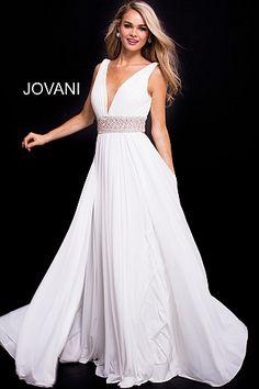 White V Neck Embellished Belt Mesh Dress 48069