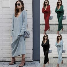 Ladies Loose Knitted Long Dress Women Spring V-Neck Long Sleeve Solid Jumper Shirt Maxi Party Dresses Women's Dresses, Warm Dresses, Trendy Dresses, Winter Dresses, Dress Winter, Fashion Dresses, Pullover Mode, Sexy Summer Dresses, Jumper Shirt