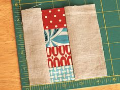 Coaster, fabric scraps with linen