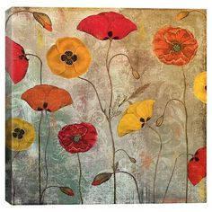 Dancing Poppies Wall Art for the home; on canvas, in several sizes!