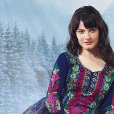 Light Blue and Dark Blue Pure Pashmina Churidar Kameez Online Shopping: KWY433B