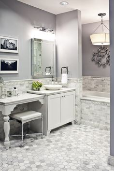 Maybe we could go gray in the half bath?  I love the tile on the floor in here.