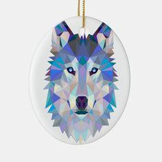 Polygon wolf - geometric wolf - abstract wolf Ceramic Ornament