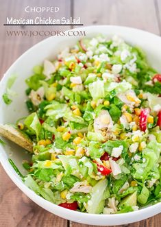 Chopped Mexican Chicken Salad.. I need to lighten this up for my Shrinking On a Budget Meal Plan, but I love the concept - great use for Planned Leftover chicken.