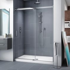 Fleurco Apollo - Frameless Sliding Shower Door and Fixed Panel With Finish: Chrome Frameless Sliding Shower Doors, Frameless Shower Enclosures, Glass Shower Doors, Sliding Doors, Glass Door, Shower Alcove, Tall Cabinet Storage, Locker Storage, Small Showers