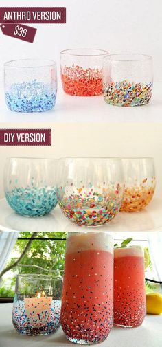 Transform old glasses into confetti patterned tumblers. | 38 Anthropologie Hacks