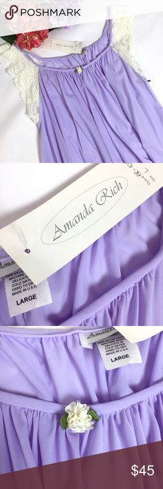 NWT AMANDA RICH NIGHT GOWN PURPLE SIZE LARGE NWT AMANDA RICH LACE CAP SLEEVE KNEE LENGTH NIGHT GOWN BLUE SIZE LARGE  EXCELLENT!  HAS A COUPLE OF SNAGS ( PHOTOGRAPHED) ULTRA LIGHTWEIGHT, FLOATS ON YOUR BODY!  MADE OF ANTI-STATIC TRICOT NYLON MADE IN USA VERY LOW CUT ARM OPENINGS KNEE LENGTH  PLEASE LOOK AT THE SIZE IMAGE  SMOKE-FREE-HOME amanda rich Intimates & Sleepwear