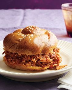 Slow-cooker spicy buffalo chicken sandwiches - these are delicious!