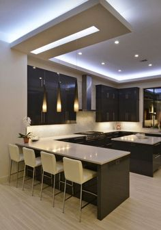 stunning modern dream kitchen design ideas and decor 1 < Home Design Ideas Kitchen Ceiling Design, Kitchen Room Design, Home Decor Kitchen, Rustic Kitchen, Kitchen Interior, Home Interior Design, Home Design, Kitchen Ideas, Cheap Kitchen