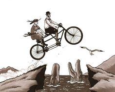 Tandem Bike Daredevils art print 8x10 by berkleyillustration, $18.00