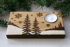 Bougeoir bois hivernal  décoration rustique par TwigsandBlossoms