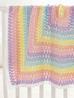 Baby Blanket Squared in Caron Simply Soft - Downloadable PDF