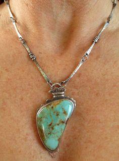 Necklace Pendant - Arrowhead - Sterling Silver - Kingman Turquoise - Silversmith - RMD Designs www.rmddesigns.com