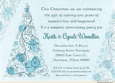 Surprise 25th Anniversary Invitation - Blue Christmas Ornaments