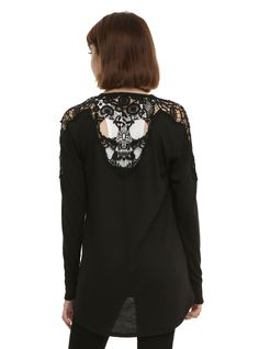 Black Crochet Skull Girls Cardigan | Hot Topic