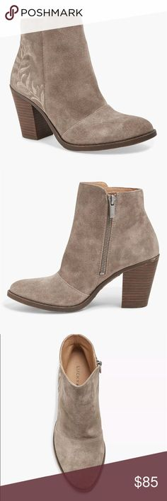 Lucky Brand Elenor Tan Ankle Booties Size 8.5 Gorgeous tan colored embroidered ankle booties, size 8.5. From The Lucky Brand. These have never been worn but do not come with he box or tags. Only tried on in the store. Contains real leather. Lucky Brand Shoes Ankle Boots & Booties