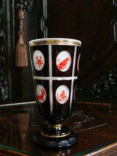 Biedermeier Glas Freundschaftsglas Becherglas Sternzeichen Fußbecher Überfang