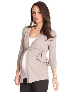 Taupe Tie Cardigan - Maternity Sweaters - Maternity Clothes