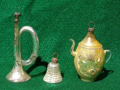 3 Vintage Mercury Glass Christmas Ornaments Teapot Hobnail Bell & Horn