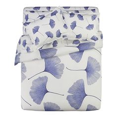 Marimekko Ginkgo Blue and Biloba Blue Bed Linens.  love.