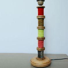 Pied de lampe en bois 5 Bobines Chehoma (decoclico)