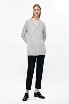COS image 1 of V-neck merino jumper in Light Grey