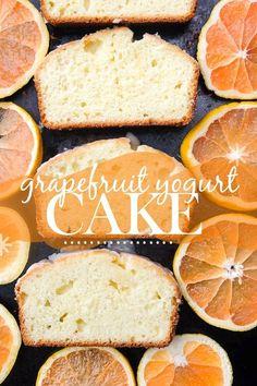 This Grapefruit Yogurt Cake tastes like a citrus crumb doughnut. Find the recipe on Shutterbean.com
