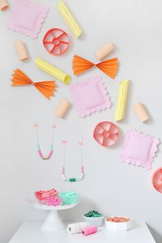 Kids Birthday Party Ideas and Themes: Make these giant colorful pasta noodles as playful décor. Pasta Crafts, Party Stations, Welcome Home Parties, Crafts For Kids, Diy And Crafts, Festa Party, Colorful Party, Diy Party Decorations, Creative Crafts