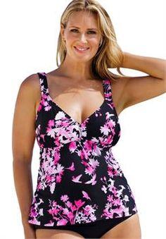 Plus Size Beach Belle Fly With Me V Neck Tankini Top