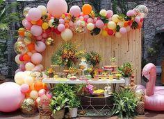 Diy Garland, Balloon Garland, Balloons, Balloon Backdrop, Luau Theme Party, Hawaiian Party Decorations, Birthday Decorations, Hawaiin Theme Party, Adult Luau Party