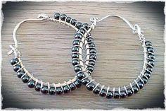 Handmade sterling silver hoop earrings, wire wrapped with 2mm metallic Hematite gemstones- Meredith Terry Earrings on Etsy, $30.00