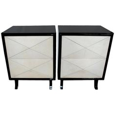 Pair of Lacquered and Parchment Chests or Nightstands. Wrong dimensions but i love the shape. Inspiration for custom in guest?