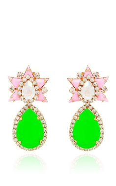 Galaxy Earrings In Rose And Green by Shourouk for Preorder on Moda Operandi