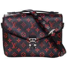 6d4af9873af7 Louis Vuitton Black and Red Monogram Infrarouge Pochette Metis Messenger Bag