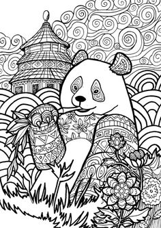 Adult Coloring Pages: Panda                                                                                                                                                      More