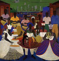 Soraia Cals Escritório de Arte | Leilão:Novembro de 2008  Título:Candomblé  Descrição: painel mural em óleo s/ madeira, ass., dat. 1955, com dedicatória a Jorge Amado inf. esq.   250 x 240 cm