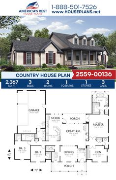 A sweet Country home design, Plan 2559-00136 delivers 2,367 sq. ft., 3 bedrooms, 2.5 bathrooms, split bedrooms, a breakfast nook, an open floor plan, and a 3 car garage. #country #architecture #houseplans #housedesign #homedesign #homedesigns #architecturalplans #newconstruction #floorplans #dreamhome #dreamhouseplans #abhouseplans #besthouseplans #newhome #newhouse #homesweethome #buildingahome #buildahome #residentialplans #residentialhome