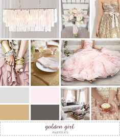 I am diggin' on that gorgeous pink wedding gown!