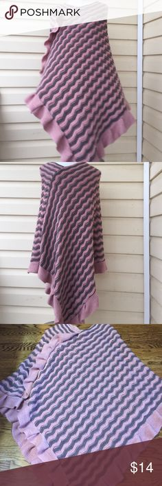 Dusty Rose Pink and Gray Poncho Pink gray 100% acrylic one size poncho. Ruffles details very warm, gently used good conditions. Sweaters Shrugs & Ponchos
