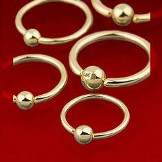 "14 Kt Gold Captive Ring - 16G - 5/16"" Length - 3mm Ball - 0.6 Grams - Sold Individually WickedBodyJewelz - Captive Rings. $129.08"