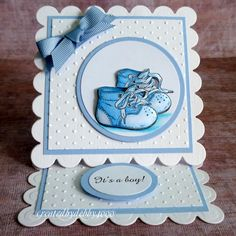 A Scrapjourney: Spellbinders Easel Card Birthday Cards For Son, New Baby Cards, Baby Boy Cards Handmade, Spellbinders Cards, Shaped Cards, Embossed Cards, Easel Cards, Baby Shower Cards, Card Tutorials