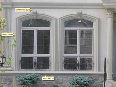 In a masonry arch, the keystone is the stone placed on the very top of the arch. A keystone has the shape of a wedge. To people, it might not be important. However, it is important to the architects and builders. House Shutters, Windows, House Entrance, Windows Exterior, House Exterior, French Exterior, Exterior Design, Window Design, Window Trim Exterior