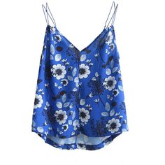 Yoins Blue Floral Print Irregular Hem Cami with Double Straps ($19) ❤ liked on Polyvore featuring tops, croppeds, yoins, blue, long tank, crop tank tops, crop tank, summer crop tops and long tank tops