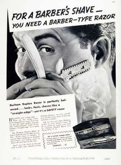 Vintage Beauty and Hygiene Ads of the (Page Joe Barber, Barber Shave, Beard Barber, Shaving & Grooming, Wet Shaving, Vintage Advertisements, Vintage Ads, Shaved Hair Cuts, World Map Travel