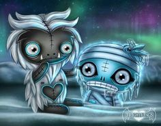 Frightlings: Cedric Yetiling and Amun Mummyling. Halloween Artwork, Halloween Drawings, Halloween Pictures, Emo Art, Goth Art, Gothic Poems, Gothic Fantasy Art, Gothic Fairy, Doll Tattoo