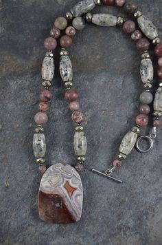 4x Gemstone Wrap Bracelet with Red Sesame Jasper and Hematite Antique Hand Hammered Pewter Button