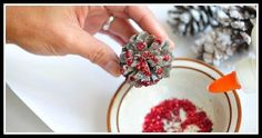 """How to Make Ornamental Pine Cones for Christmas. There is nothing more special than a decorative tree on Christmas, and there is truly nothing more special than one with that old-fashioned appeal; add in """"Chestnuts Roasting by an Open. Roasted Chestnuts, Pine Cones, Tree Decorations, Sprinkles, Personalized Gifts, Raspberry, Candy, Ornaments, Fruit"""