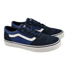 #Zapatillas de cordones en materiales de serrajes suaves en colores navy-azul con suelas de goma blancas de estilo skate de la marca VANS.