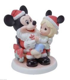 "DISNEY PRECIOUS MOMENTS *MERRY CHRISTMAS TO ALL"" FIGURINE MICKEY MOUSE SANTA NEW"