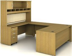 """SERIES C: WARM OAK SERIES C 004 SUITE (WARM OAK) by Bush Office Solutions. $1234.78. 1 - WC67524 Return Bridge 48"""". 1 - WC67536 Desk 72"""". This bundle contains:. 1 - WC67566 Hutch 72"""" 2 Door. Wire management grommets help keep wires and cords neat. Series C 004 Bundle (Warm Oak)Some assembly may be required. Please see product details. Some assembly may be required. Please see product details."""
